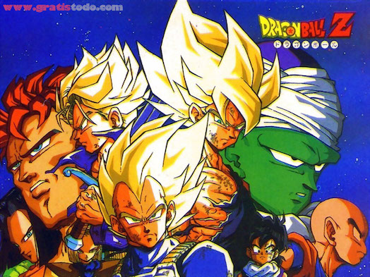 The cast of Dragon Ball Z, in ulter-dramatic epic poses, close-up montage shot.