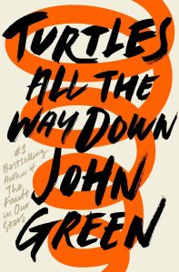 Cover of Turtles All the Way Down, but John Green. A cream background with an orange spiral down the length of the book, with the title and author as overlayed black text.