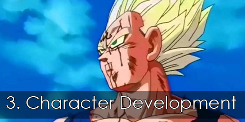 "Majin Vegeta looking dramatically into the distance. Overlay text reads ""3. Character Development""."