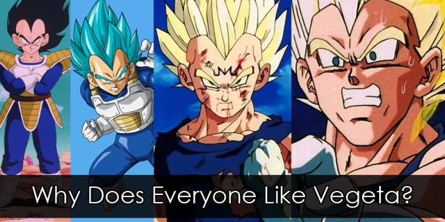 """Four pictures of Vegeta from different eras of Dragon Balls. Overlay text reads """"Why Does Everyone Like Vegeta?"""""""