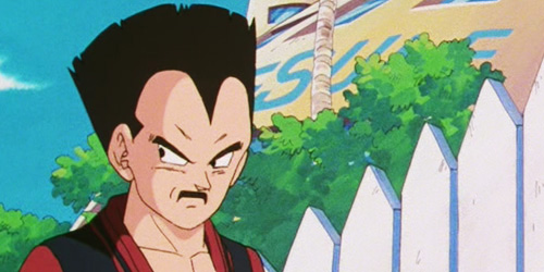 Vegeta with his horrible mustache and chopped-down hair.