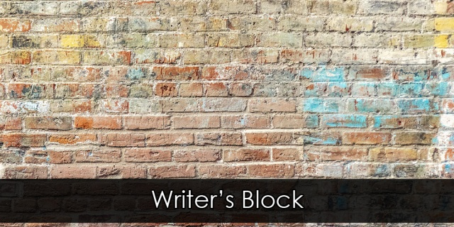 "A beige brick wall. Overlay text reads ""Writer's Block""."