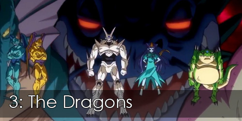 "Shot of the Dragons from Dragon Ball GT. Overlay text reads ""3: The Dragons""."