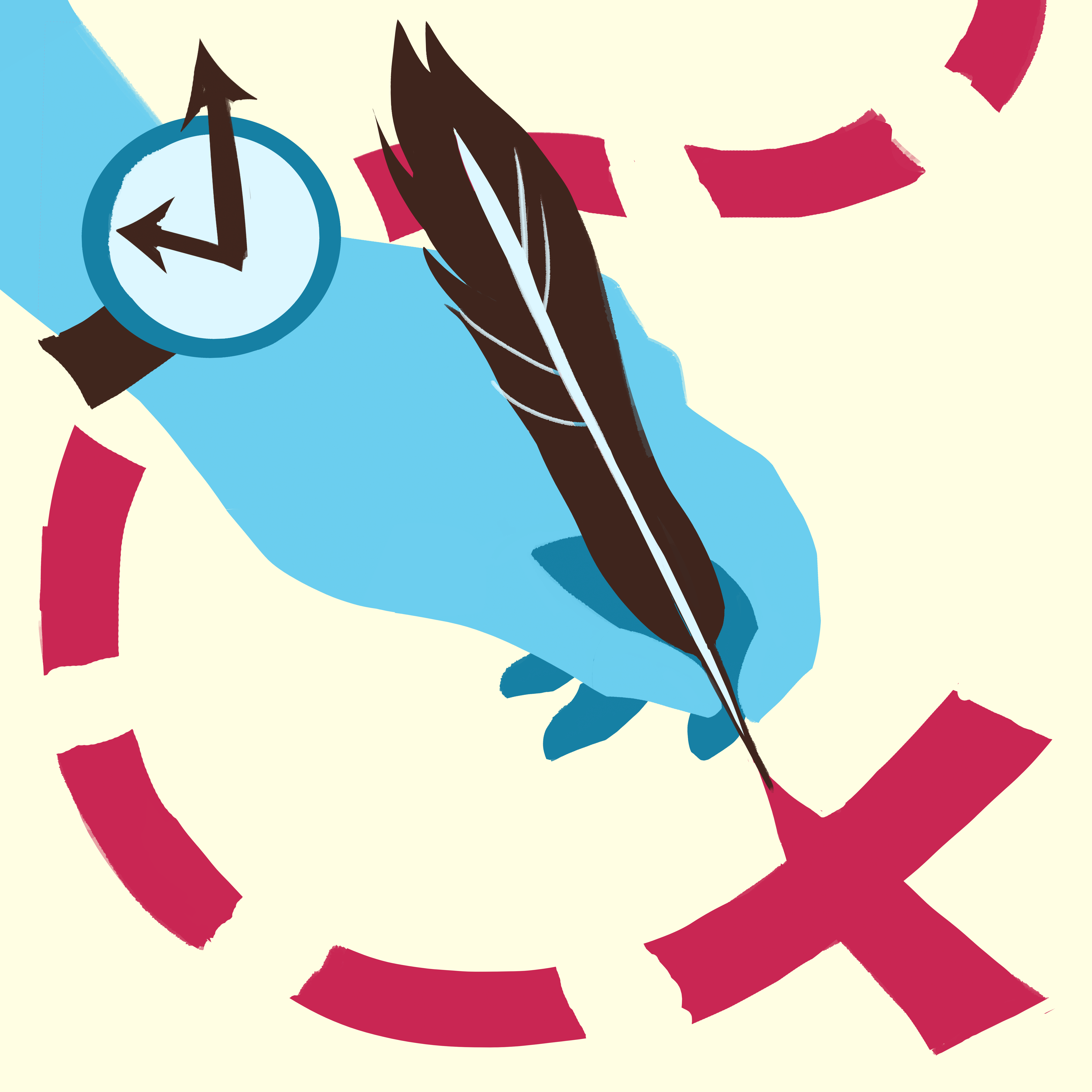 AS logo of a blue hand holding a feather quill, drawing a large red X. A broken up line lead to the X, like a treasure map. The hand is also wearing a wacky watch.